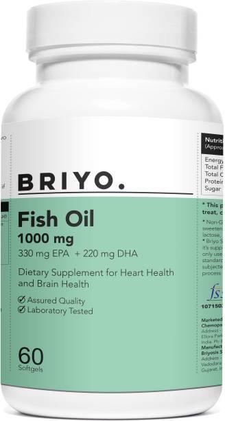 BRIYOSIS Omega 3 1000 mg Fish Oil Triple Stregth with 330 mg EPA & 220 mg DHA per softgel