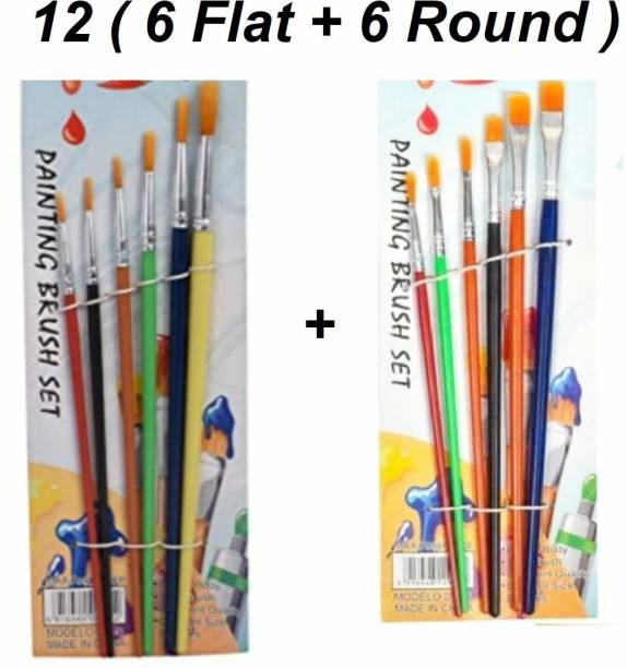 BVM GROUP Set of 12 Different Sizes Synthetic Flat & Round Paint Brush for Oil, Acrylic Paintings Brush