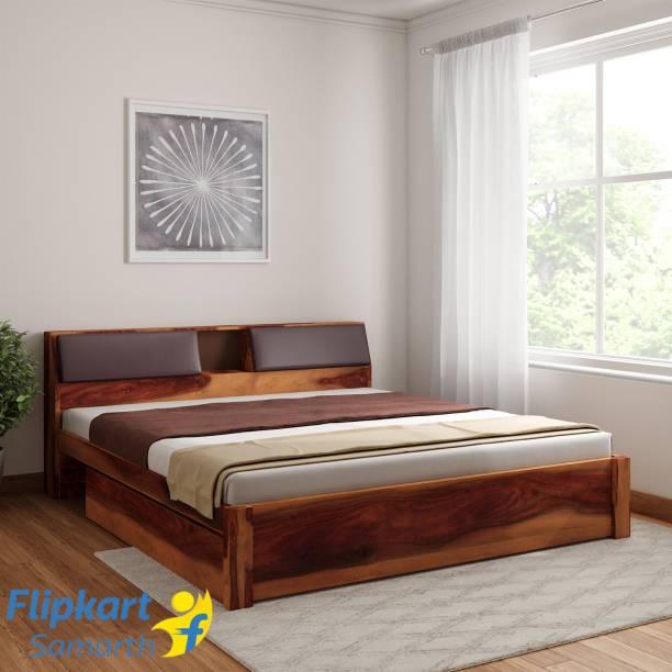 Vintej Home Sheesham Wood Solid Wood King Drawer Bed
