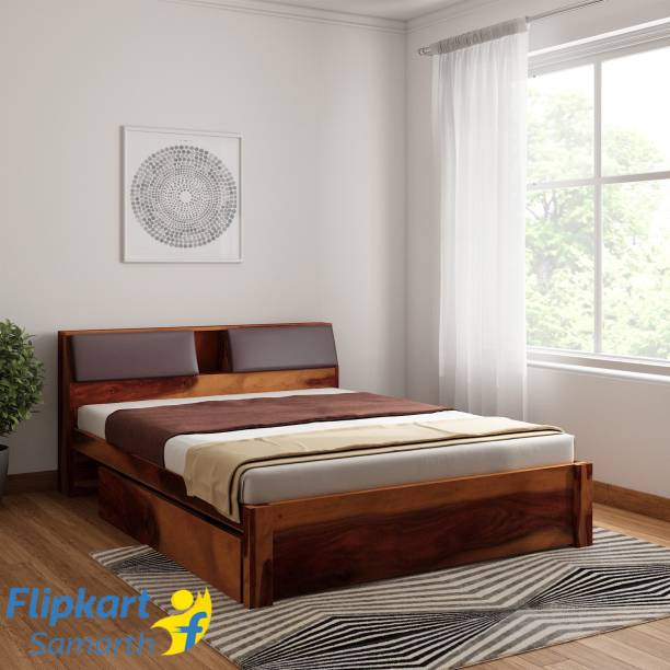 Vintej Home Sheesham Wood Solid Wood Queen Drawer Bed