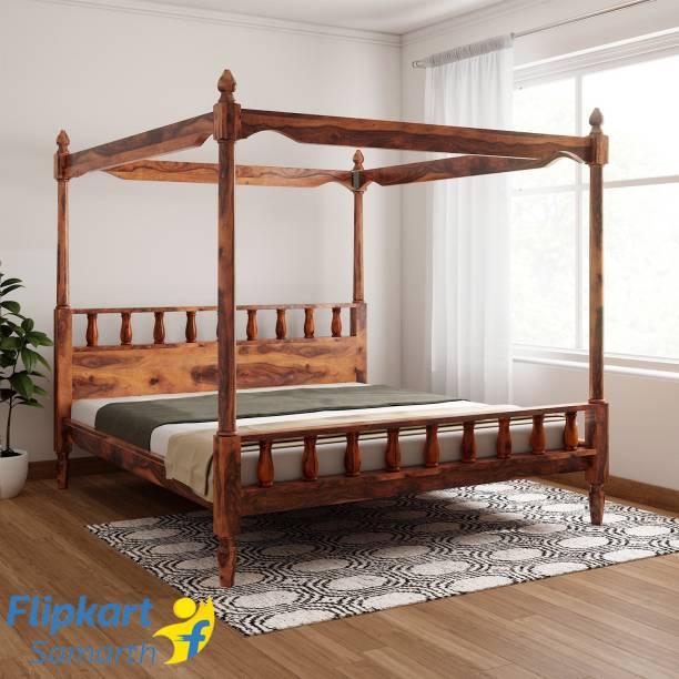 Vintej Home Sheesham Wood Solid Wood King Bed