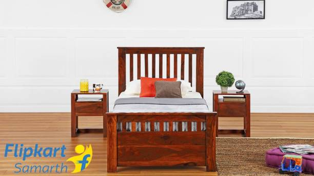 Vintej Home Home Style Solid wood Contemporary style Single Size Bed With Out Storage In Honey Finish By Vintage Home Solid Wood Single Bed