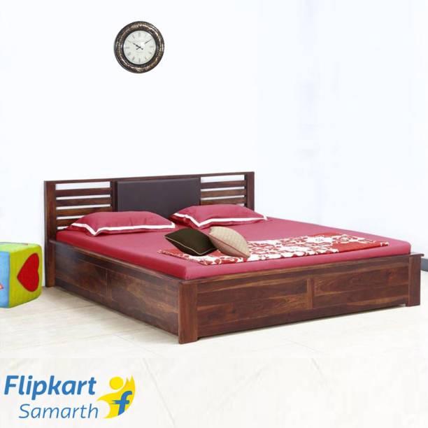 Vintej Home Horizon Box Sheesham Solid Wood Queen Bed