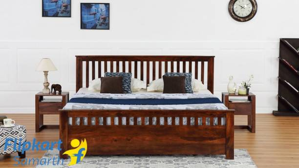 Vintej Home Mid - Century Brown Solid wood Contemporary style King Size Without Storage bed In Honey Finish By Vintage Home Solid Wood King Bed