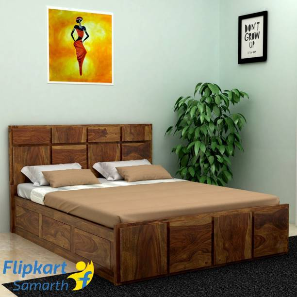 Vintej Home Solid Wood Queen Box Bed