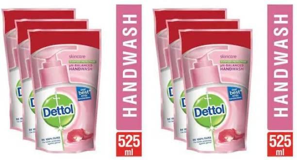 Dettol Skincare Liquid Hand Wash Refill Hand Wash Pouch Ambz (6 x 175 ml) Hand Wash Refill Pouch