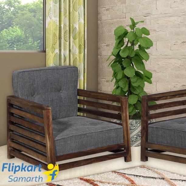 Vintej Home Wooden Raymond Mango Fabric 1 Seater Sofa