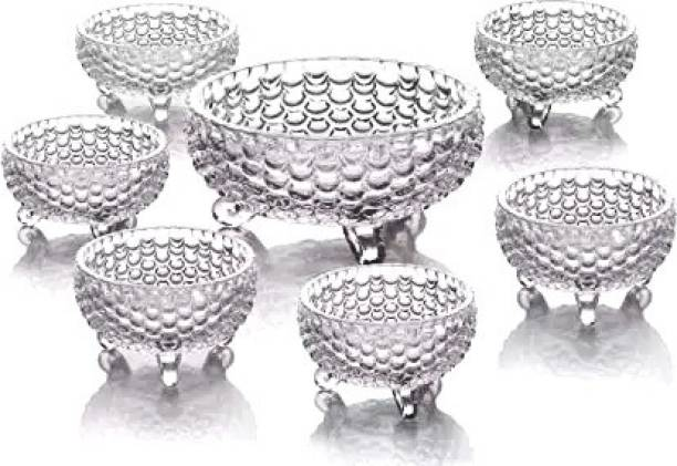 RK ONLINE SALES RK ONLINE SALES Glass Bowl Set of 7 pcs with 1 Large Bowl & 6 Medium Bowls for Serving Snacks,Pudding,Dessert,Fruits and Other Kitchen Purpose Glass Disposable Dessert Bowl (Clear, Pack of 7) Glass Disposable Dessert Bowl