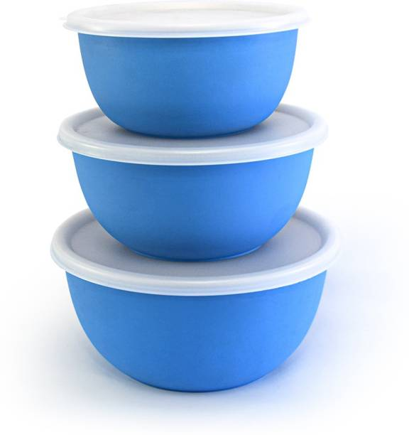 Zaib Microwave Safe Stainless Steel Bowl Set of 3 with Lid for Your Kitchen | Steel Container to Storage Food, Serving, Reheating and Refrigerating in Fridge (Sky Blue) Steel, Plastic Mixing Bowl