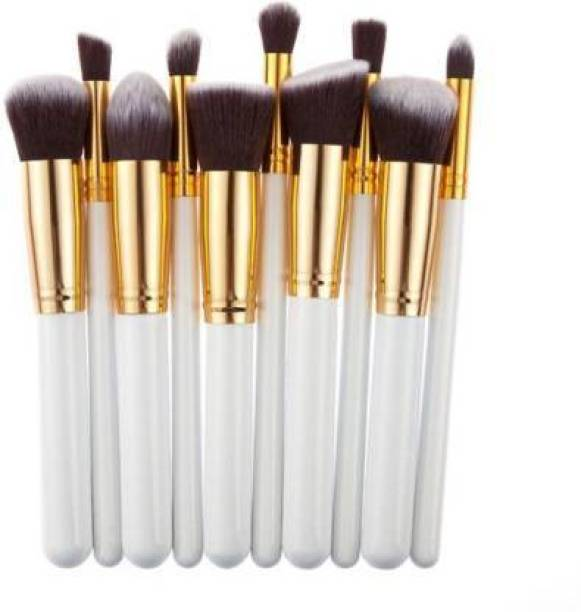 lazygirl 10 pcs Synthetic Makeup Brush Set - white (Pack of 10)
