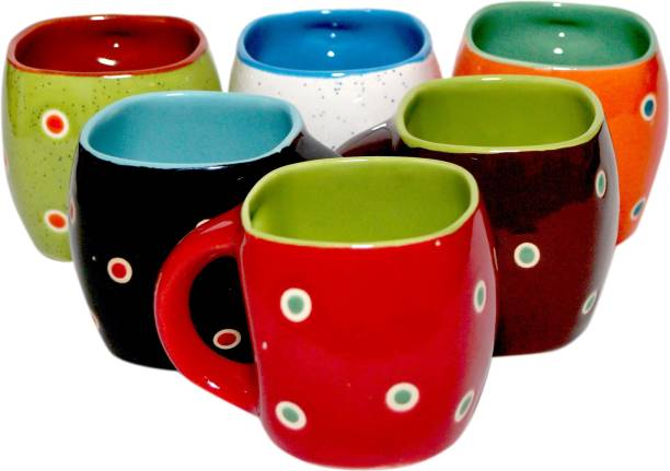 SHIKHA HANDICRAFT Pack of 6 Ceramic POLKA DOTTED CEREMIC COLOURFUL TEA CUP SET