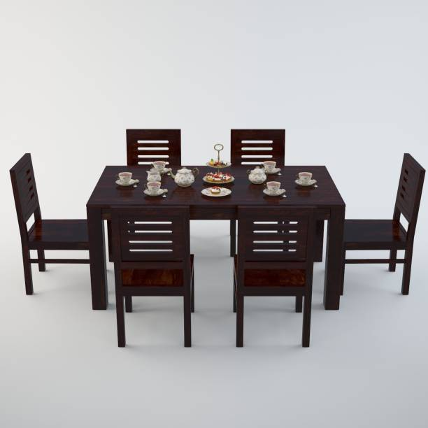 Cherry Wood Sheesham Wood Solid Wood 6 Seater Dining Set (Finish Color - Brown) Solid Wood 6 Seater Dining Set