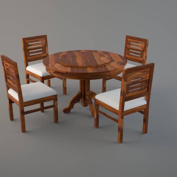 Allie Wood Marrigo Sheesham Wood Round Rotating Top Solid Wood 4 Seater Dining Set