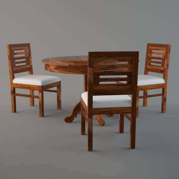 Cherry Wood Sheesham Wood Round Rotating Top Solid Wood 3 Seater Dining Set (Finish Color - Teak Finish) Solid Wood 3 Seater Dining Set