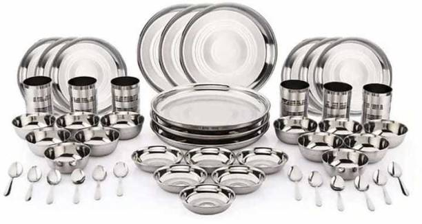 SteelTop Pack of 48 Stainless Steel Stainless Steel 48 Pieces Dinner Set Included 6 Plate, 6 Quarter Plate, 12 Bowl, 6 Glass, 12 Spoon, 6 Halwa Plate Dinner Set