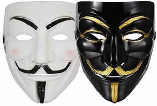 Bal samrat 1 White & 1 Black Vendetta Comic Face Anonymous Hacker Party Mask Set of 2 Party Mask
