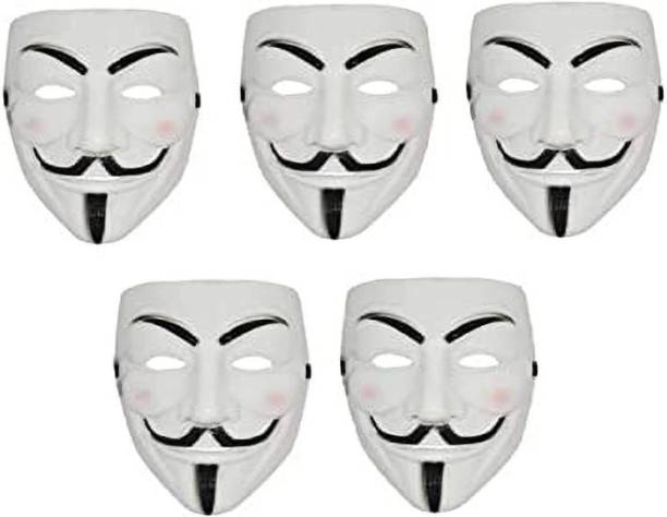 Bal samrat Vendetta Comic Face Anonymous Hacker White Color Party Mask Set of 5 Party Mask