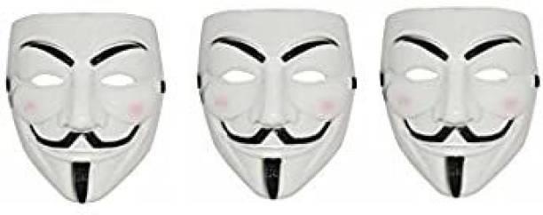Bal samrat Vendetta Comic Face Anonymous Hacker White Color Party Mask Set of 3 Party Mask