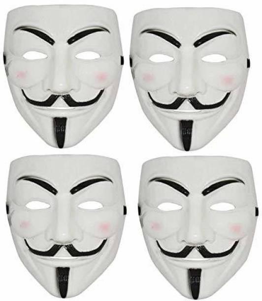 Bal samrat Vendetta Comic Face Anonymous Hacker White Color Party Mask Set of 4 Party Mask