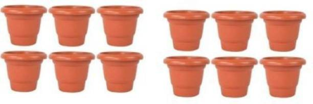MEHAN'S Gardening Flower Pots-8Inch Round Garden Plastic Planters Pack of 12 Plant Container Set