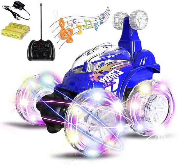 R S Kukadiya Rechargeable 360 Degree Twisting Stunt Car with Music & Lights for Kids (Colors as Per Stock) (MULTY COLOUR)