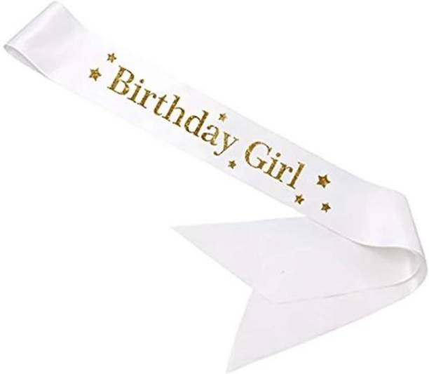 """CAMARILLA Happy Birthday Fashionable White Satin Sash """"Birthday Girl"""" with Gold Lettering - 18th, 21st, 30th Birthday Party/Birthday Girls sash White for Kids Birthday and Party Decoration(Set of 1)"""