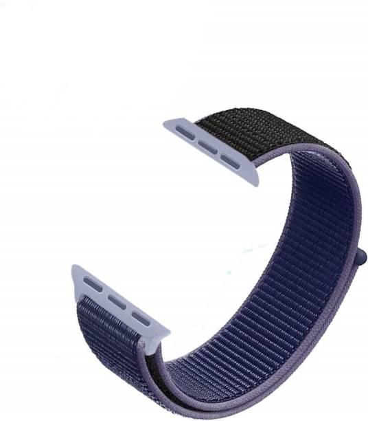 V-TAN PREMIUM REPLACEMENT iWATCH STRAP NYLON 42/44MM-BLUE BLACK Smart Watch Strap