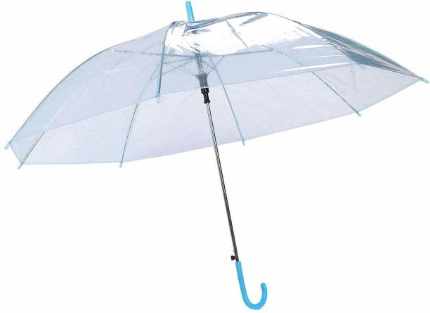 BROLLY Trendy Clear & Ultra Light Fashionable Transparent Long-handle Semi-Automatic Umbrella for Ladies Outdoor Rain Protection reative Rainy Clear Transparent Umbrella High Quality Umbrella