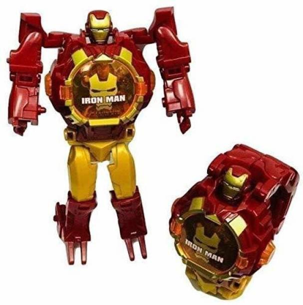 I&SONI Avengers Super Hero Transformer Robot Toy Convert into Digital Wrist Watch for Kids, Avengers Robot Deformation Watch (Iron Man)