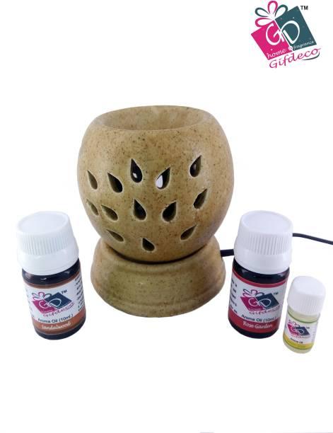 GIFDECO SANDALWOOD 10 ML, ROSE GARDEN 10 ML, LEMON GRASS 3 ML Diffuser Set, Diffuser, Aroma Oil