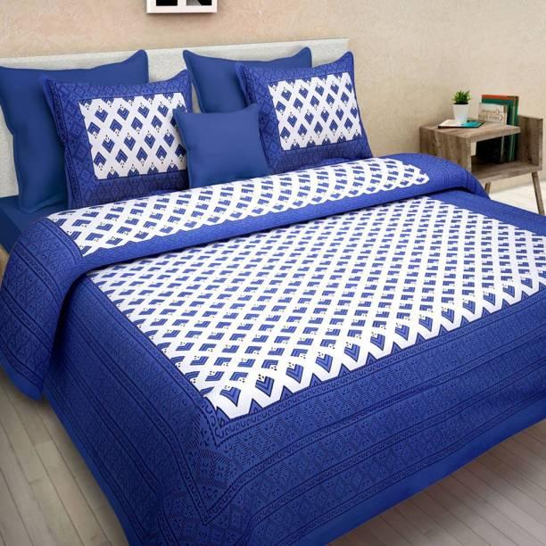Kanha Online Shopping 200 TC Cotton Double King Printed Bedsheet