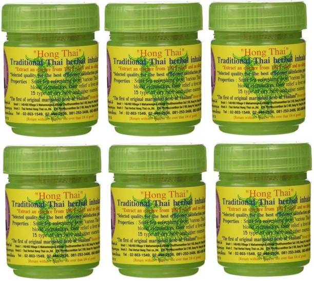 Hong Thai Traditional Thai Moderate Strong Herbal Inhalant (Pack Of 6) Inhaler Inhaler