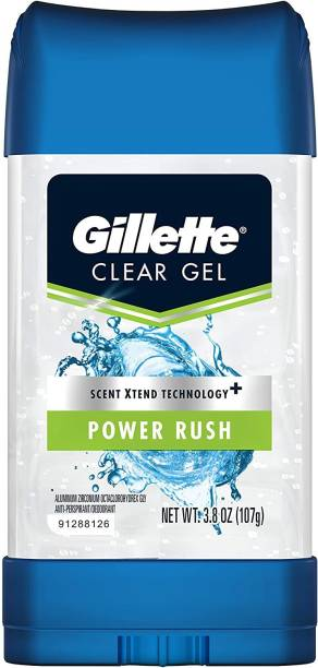 GILLETTE Anti-Perspirant Deodorant Clear Gel, Power Rush MADE IN USA Deodorant Stick  -  For Men