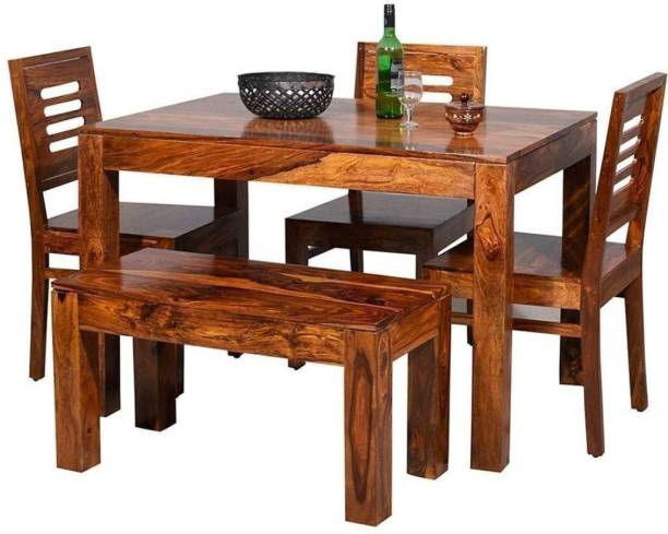 Allie Wood Solid sheesham wood dining set with bench Solid Wood 4 Seater Dining Set