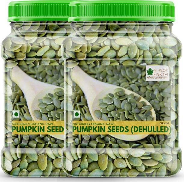 Bliss of Earth 2x600GM Naturally Organic Pumpkin Seeds For Eating, Dehulled & Raw Super Food, Ready To Eat