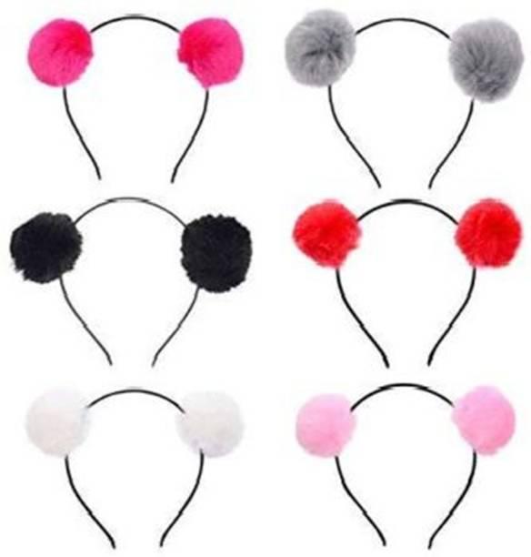 S K Bright Girls Fluffy Fur Ball Headband Pom Pom Ball Hair Band Hair Accessories (Random Color) Pack Of 6 Hair Band