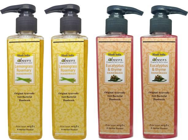 khadi abeers Lemongrass Rosemary & Eucalyptus Thyme Hand Wash - Pack of 4 (1000ml) Hand Wash Pump Dispenser