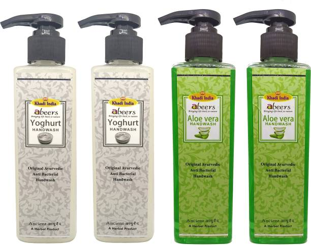 khadi abeers Yoghurt & Aloevera Hand Wash - Pack of 4 (1000ml) Hand Wash Pump Dispenser
