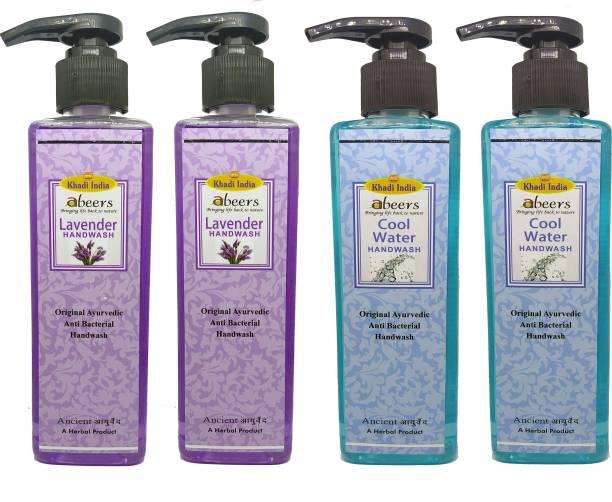 khadi abeers Lavender & Cool Water Hand Wash - Pack of 4 (1000ml) Hand Wash Pump Dispenser