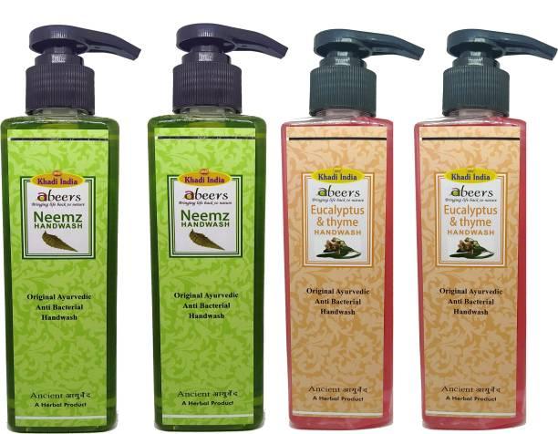 khadi abeers Neemz & Eucalyptus Thyme Hand Wash - Pack of 4 (1000ml) Hand Wash Pump Dispenser