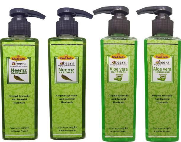 khadi abeers Neemz & Aloevera Hand Wash - Pack of 4 (1000ml) Hand Wash Pump Dispenser