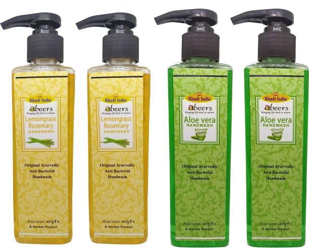 khadi abeers Lemongrass Rosemary & Aloevera Hand Wash - Pack of 4 (1000ml) Hand Wash Pump Dispenser