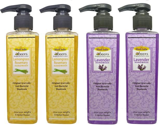khadi abeers Lemongrass Rosemary & Lavender Hand Wash - Pack of 4 (1000ml) Hand Wash Pump Dispenser