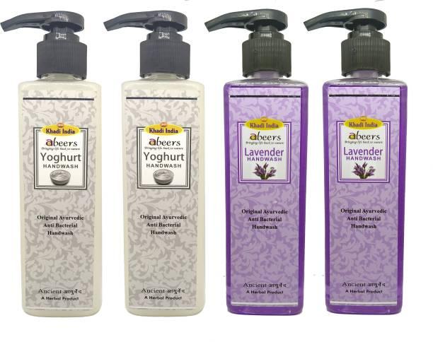 khadi abeers Yoghurt & Lavender Hand Wash - Pack of 4 (1000ml) Hand Wash Pump Dispenser