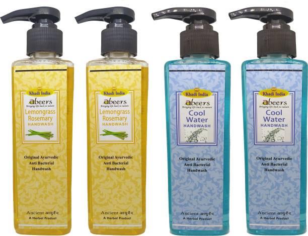 khadi abeers Lemongrass Rosemary & Cool Water Hand Wash - Pack of 4 (1000ml) Hand Wash Pump Dispenser