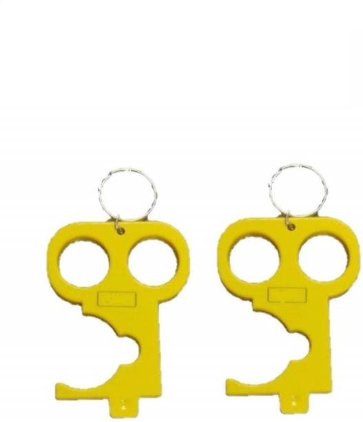 bengvo COVID Key Hands-Free Keychain Tool No Contact Multifunction Covid Key with 2 Finger Design Pack of 2pcs Key Chain