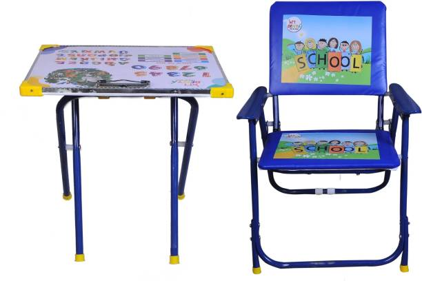 Demya king of steel Plywood And Metal Study Playing Table Chair Set For Kids(Blue) Metal Desk Chair