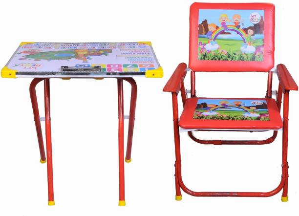 Demya king of steel Plywood And Metal Study Playing Table Chair Set For Kids(Red) Metal Desk Chair