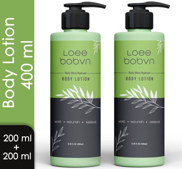 Loee bobvn Daily ultra hydrant body lotion moisturizer with Vitamin e , Hyaluronic Acid & witch hazel extract , sls sulphate paraben free for Men & Women (200ml+200ml)