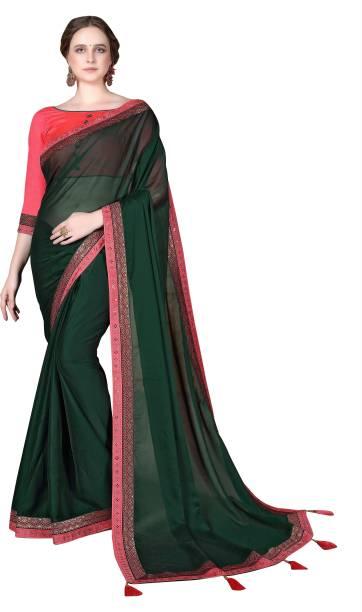 Sanku Fashion Solid Bollywood Georgette, Poly Silk Saree